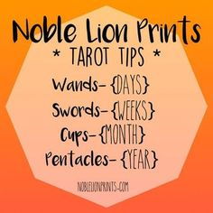 Quick Tarot Reference for timing with the suits! Visit http://www.noblelionprints.com to learn more!