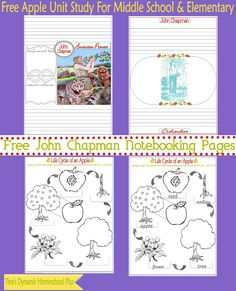 John Chapman Free Notebooking Pages @ Tina's Dynamic Homeschool Plus