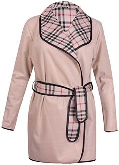 PurpleHanger Womens Plus Size Tartan Line Fleece Jacket Trench Coat Cream 1618 >>> Click image to review more details.  This link participates in Amazon Service LLC Associates Program, a program designed to let participant earn advertising fees by advertising and linking to Amazon.com.