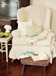 Video Slipcover Tutorial Series Part 3 & Wing Chair Reveal