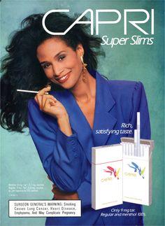Beverly Johnson for Capri Super Slims, Vintage Advertisements, Vintage Ads, Vintage Cigarette Ads, Cigarette Girl, Famous Ads, British American Tobacco, Girls Smoking Cigarettes, Virginia Slims, Beverly Johnson