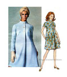1960s Mod VOGUE 2069  CoatDress One Piece DRESS PATTERN Teal Traina Designer Vogue Americana Bust 32.5 Size 10 Womens Sewing Patterns UNCuT by DesignRewindFashions on Etsy