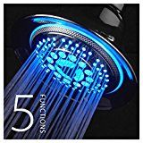 DreamSpa® All-Chrome Water Temperature Color-Changing LED Shower Head is the World's Most Advanced LED Shower Head! • LED lights are powered by running water,