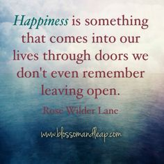 Happiness is something that comes into our lives through doors we don't even remember leaving open.