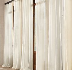 Alright people… See these drapes? They are beautiful right? Flowy, light, long, and perfect.  Of course they had better be for the  $129.99 PER PANEL at Restoration Hardware. I am going to let you in on a little secret,  you can make these same drapes for less than $15.00 for a SET of floor to …