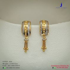 Gold 916 Premium Design Get in touch with us on Gold Jhumka Earrings, Gold Earrings Designs, Gold Jewellery Design, Gold Necklace, Real Gold Jewelry, Gold Jewelry Simple, Pendant Jewelry, Drop Earring, Touch
