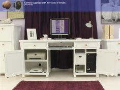 Hampton Twin Pedestal Hidden Computer Desk
