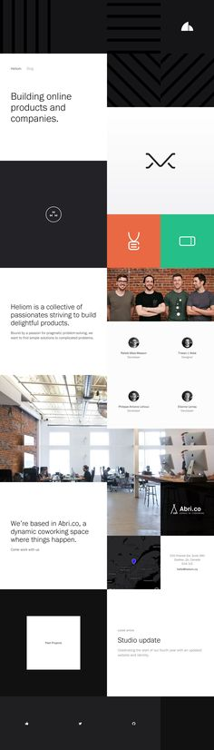 Gorgeously minimal and spacious One Pager for Canadian digital agency 'Heliom'. Great reference to a quality team photo followed by their roles neatly presented below. Big fan of their less is more approach.