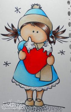 The coloring Skin: 000 Hair: 25 cap: 00 Dress: 00 shoes: 31 Soil: 2 heart: 24 Umbrella Painting, Art Lessons For Kids, Caillou, Country Paintings, Digi Stamps, Stone Art, Copic, Rock Art, Cat Art