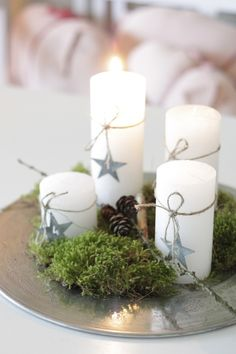 Christmas candles (on candle sticks)