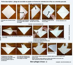 Pliage de serviette de table en forme de colombe, réaliser une colombe avec une serviette en papier , l'art du pliage de serviettes de table, decoration de table, recettes de cuisine et traditions en Europe. Information et Tourisme Européen.