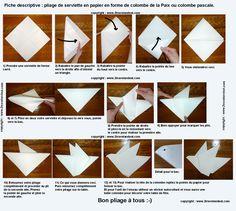 Pliage de serviette de table en forme de colombe, réaliser une colombe avec une…