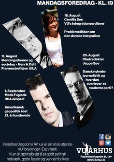 VU Århus mandagsfordragskalender for August 2014!