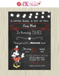 Vintage Minnie Mouse Birthday Invite by ckfireboots on Etsy