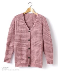 Crochet V-Neck Cardigan Pattern: Crochet this easy-to-make cardigan in Caron Simply Soft yarn. Free pattern available. Perfect for beginners. Crochet Cardigan Pattern, Crochet Jacket, Crochet Shawl, Crochet Patterns, Knit Poncho, Crochet Cable, Free Crochet, Knit Crochet, Crochet Sweaters