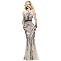 Faviana S7596 Red Carpet Dress Long High Neckline Sleeveless ($458) ❤ liked on Polyvore featuring dresses, gowns, formal dresses, long formal gowns, long prom dresses, formal evening dresses and pink evening gowns