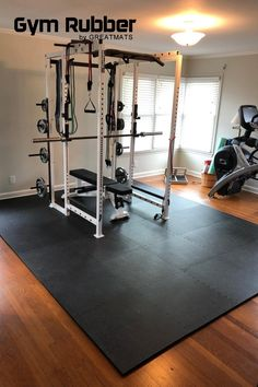 Create your home gym with a DIY flooring option. An excellent solution for an economical and easy way to install home exercise room flooring is the Gym Floor Workout Pebble Top thick foam floor tiles, which interlock together and provide a sturdy exercise room flooring for many sport, exercise and athletic activities. This EVA foam tile is lighter than rubber so one person can install it easily. It delivers a high level of density that is perfect in home gyms.