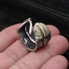 Men's Sterling Silver Two-Tone Feather Wrap Ring - Jewelry1000.com