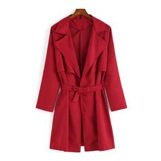 SheIn(sheinside) Red Lapel Tie-waist Casual Trench Coat (289.745 IDR) ❤ liked on Polyvore featuring outerwear, coats, red, long red coat, red trenchcoat, trench coat, red coat en lapel coat