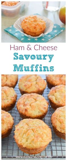 Easy Ham and Cheese savoury muffins recipe with just 6 ingredients - perfect for kids lunch boxes and picnic food too - Eats Amazing UK #easyrecipe #kidsfood #muffins #lunchboxideas #cheese #ham #savoury #recipe #lunch #schoollunch #picnic