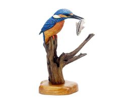 Kingfisher with Minnow Wood Carving Hand Carved by Mike Berlin
