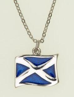 Scottish Flag Pewter Necklace, Enamel Saltire