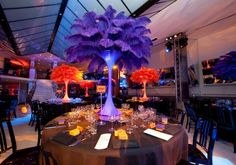 gold and purple ostrich feather centerpieces for weddings   See Larger Image #H-LMT-P. LIGHTED MINI TOWER - PURPLE