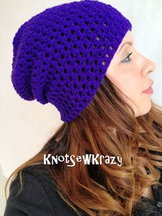 Crochet Slouch Beanie Solid Deep Purple    Slouchy by KnotSewKrazy, $19.99