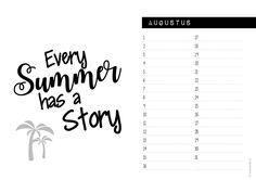 Verjaardagskalender Zwart wit - augustus #suededesign