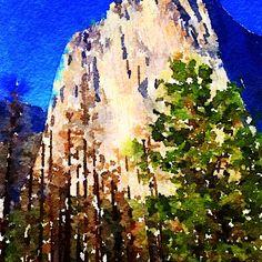 "#california #yosemite #waterlogue #artchallenge #art #artaday ""bald faced...."""