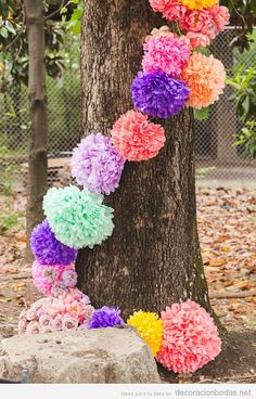 Get Happy: 15 Stylish Ways to Decorate With Pom-Poms: It's a fact of life: pom-poms instantly raise the happy factor. Wedding Art, Wedding 2015, Wedding Ideas, 40th Party Ideas, Paper Pom Poms, Event Planning Design, Party Planning, Idee Diy, Pom Poms