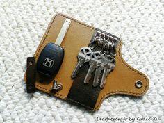 100% hand stitched handmade dark brown cowhide leather key purse / holder / case