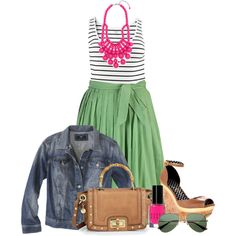 A fashion look from March 2013 featuring plus size striped top, bleached denim jacket and green skirt. Browse and shop related looks. Curvy Girl Fashion, Cute Fashion, Plus Size Fashion, Fashion Outfits, Women's Fashion, Luxury Fashion, Summer Skirts, Summer Outfits, Cute Outfits