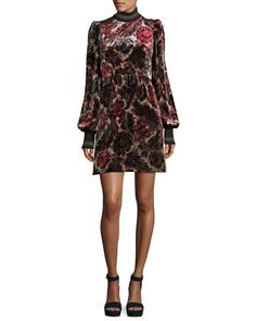 Floral+Velvet+Jacquard+Dress+by+Marc+Jacobs+at+Neiman+Marcus.