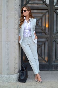 pastel suit with white button down shirt