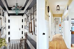 Narrow hallway decorating ideas! This post rounds up 10 gorgeous hallways with great ideas for the lighting, flooring, and walls in your boring hall. #hallway #homedecor #diy #diyproject #homerenovations #renovations #narrowhallway #decor