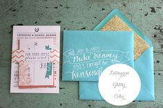Gorgeous invites by Ruby the Fox - gold liners and chevron!!