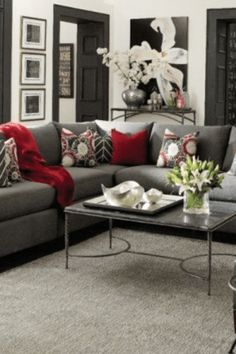 Love The Grey And Red Living Room Family Room Ideas Pinterest