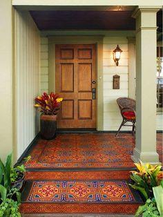 Painted Porch Floors, Porch Paint, Porch Flooring, Painted Wood, Painting Tile Floors, Painting Concrete, Concrete Porch, Concrete Floors, Plywood Floors