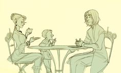 Narcissa and Draco Malfoy are having tea with Severus Snape. Thanks, Makani.