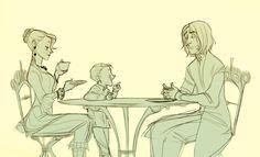 Narcissa and Draco Malfoy are having tea with Severus Snape. Thanks, Makani.