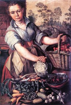Joachim Beuckelaer (Flemish painter c 1534-c 1574) Vegetable Seller