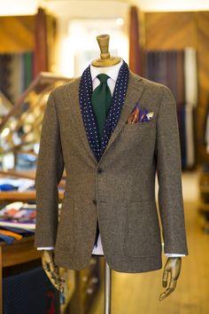 Drake's Brown Wool Jacket, Cleeve of London Light Pink Shirt, Dark Green Wool Tie, Navy Dot Scarf, Unicorn Print Wool and Silk Pocket Square