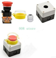 Emergency stop button, switch control box, emergency stop, error prevention cover, waterproof dust, single hole