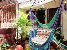 Green Purple Turquoise Blue Hanging Chair Natural by hamanica