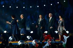 Dignitaries present for the flag handover ceremony included: (L-R) Lord Provost of Glasgow Sadie Docherty; Commonwealth Games Scotland chairman Michael Cavanagh; Gold Coast City Mayor Tom Tate; Gold Coast 2018 Commonwealth Games Corporation chairman, Nigel Chaimer; and Queensland minister for the Commonwealth Games, Jann Stuckey.