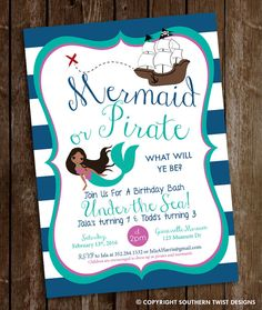 Combine the fun of mermaids and pirates with this invitation! Mermaid or Pirate...what will ye be? Perfect for any under the sea birthday bash or pool party. Mermaid can be customized including hair, eye color(some examples are attached). In search of custom designs? Contact us at Southern Twist Designs! ------------------ WHAT IS IT? ------------------ • This listing is for customized printable invitation in digital format • No hard copy will be shipped • Size: 5x7 or 4x6 (please select…