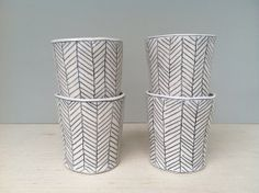 Herringbone Patterned Whiskey Cup in Black and White