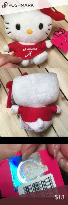 ❤️🖤Hello Kitty Bama Roll Tide plush🖤❤️ Officially licensed Hello Kitty plush. Tag still attached w/bite marks on some areas as seen in pictures otherwise in perfect condition. Purchased at Alumni Hall, University of Alabama. Roll Tide! Hello Kitty Accessories