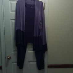 Ashley Stewart (3) piece stretch Summer Pants Set Lavender 3 piece pants set.  Mix match size of 3X & 4X. Pants & tank top 4X and the long jacket is 3X.  Warn once.  In great condition. Ashley Stewart Other